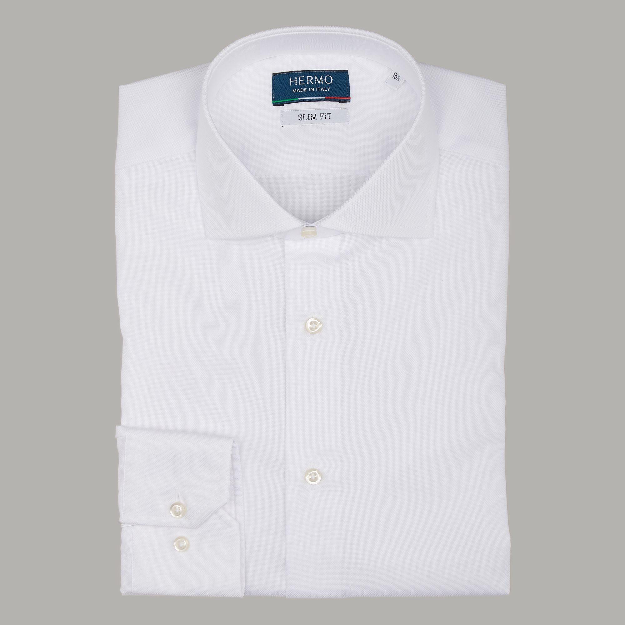 Camicia classica bianca Oxford slim fit vestibilità aderente