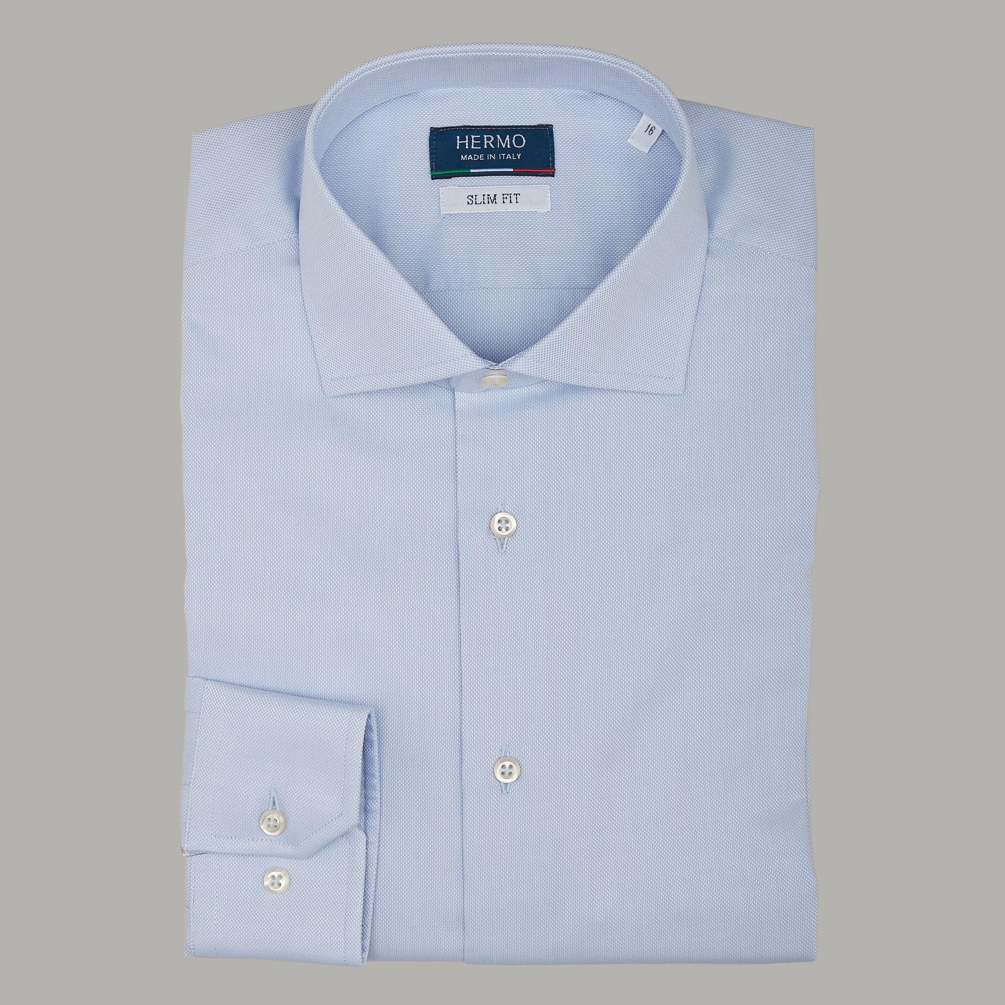 Camicia classica azzurro Oxford slim fit aderente