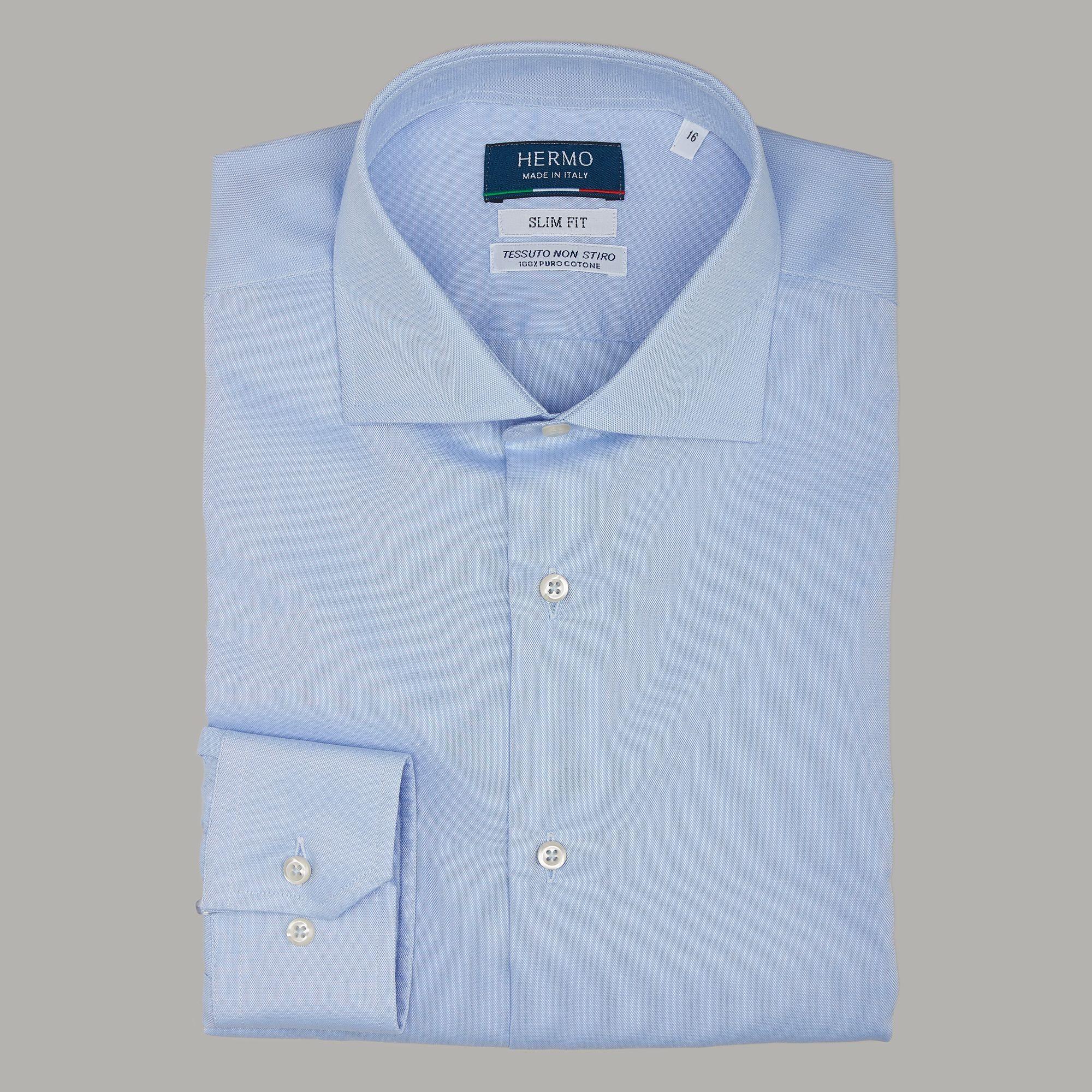 Camicia classica slim azzurro super Oxford non stiro