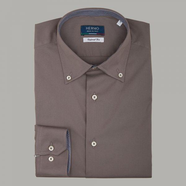 Camicia da uomo di tendenza tortora con inserti