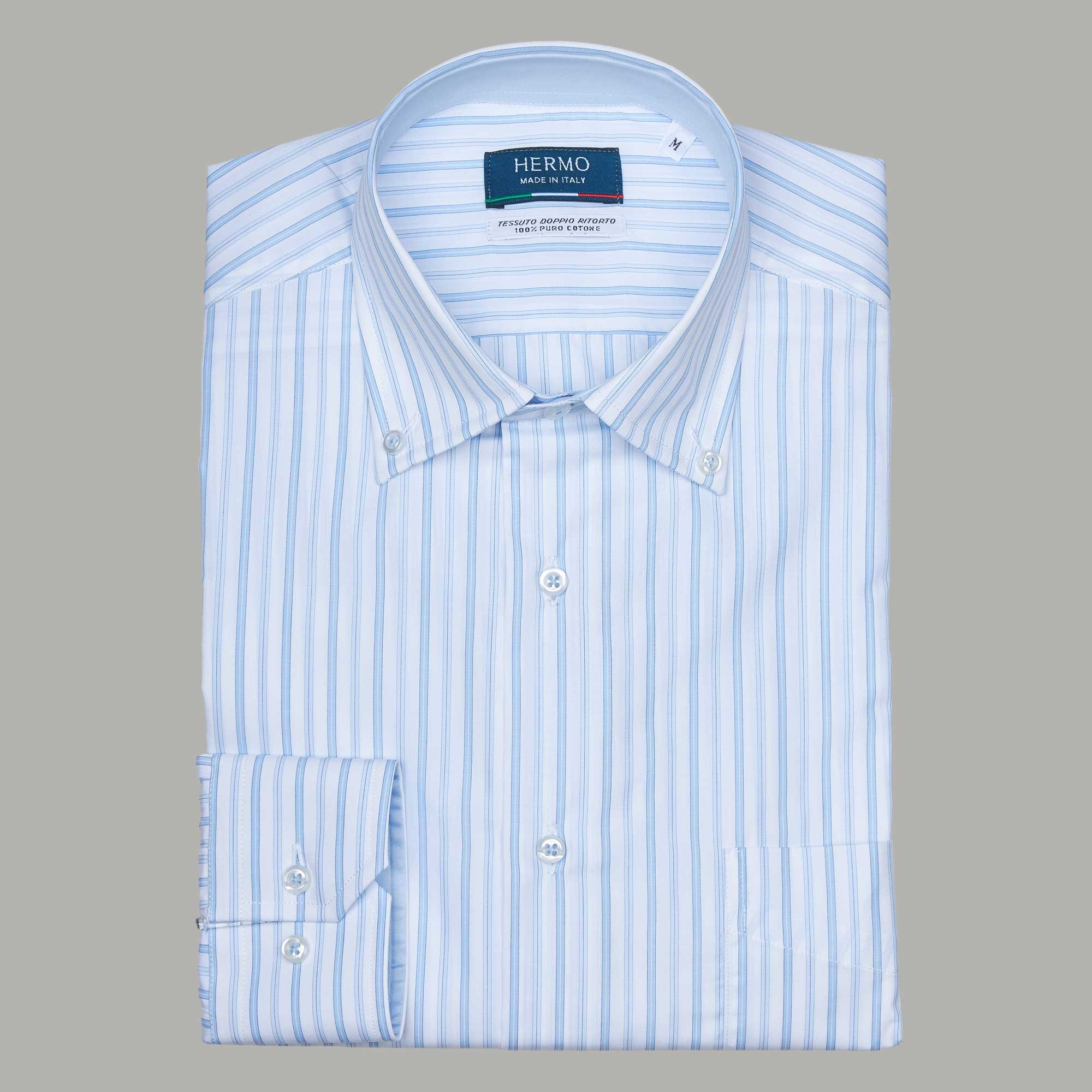 Camicia da uomo azzurra a righe puro cotone doppio ritorto