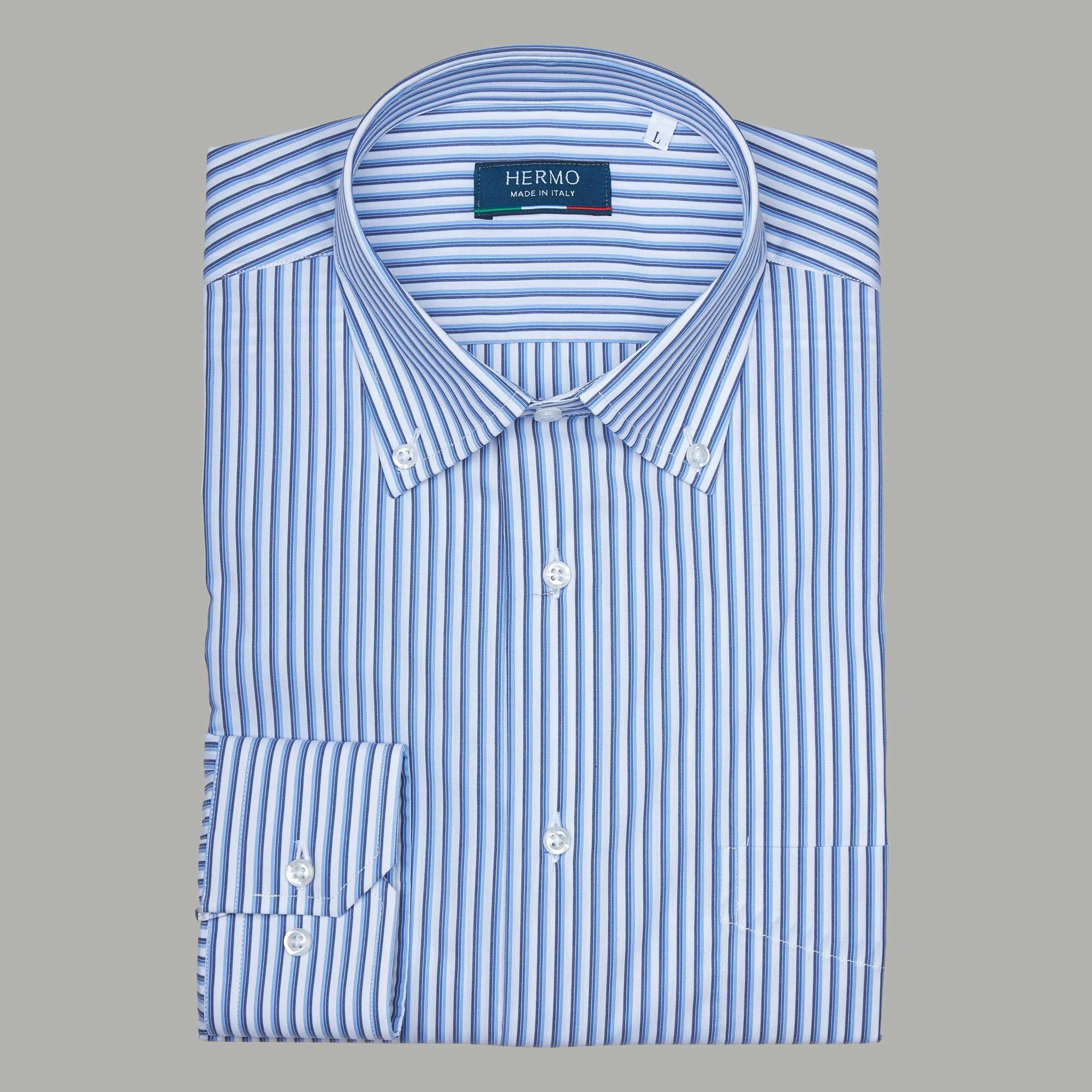 Camicia da uomo a righe blu