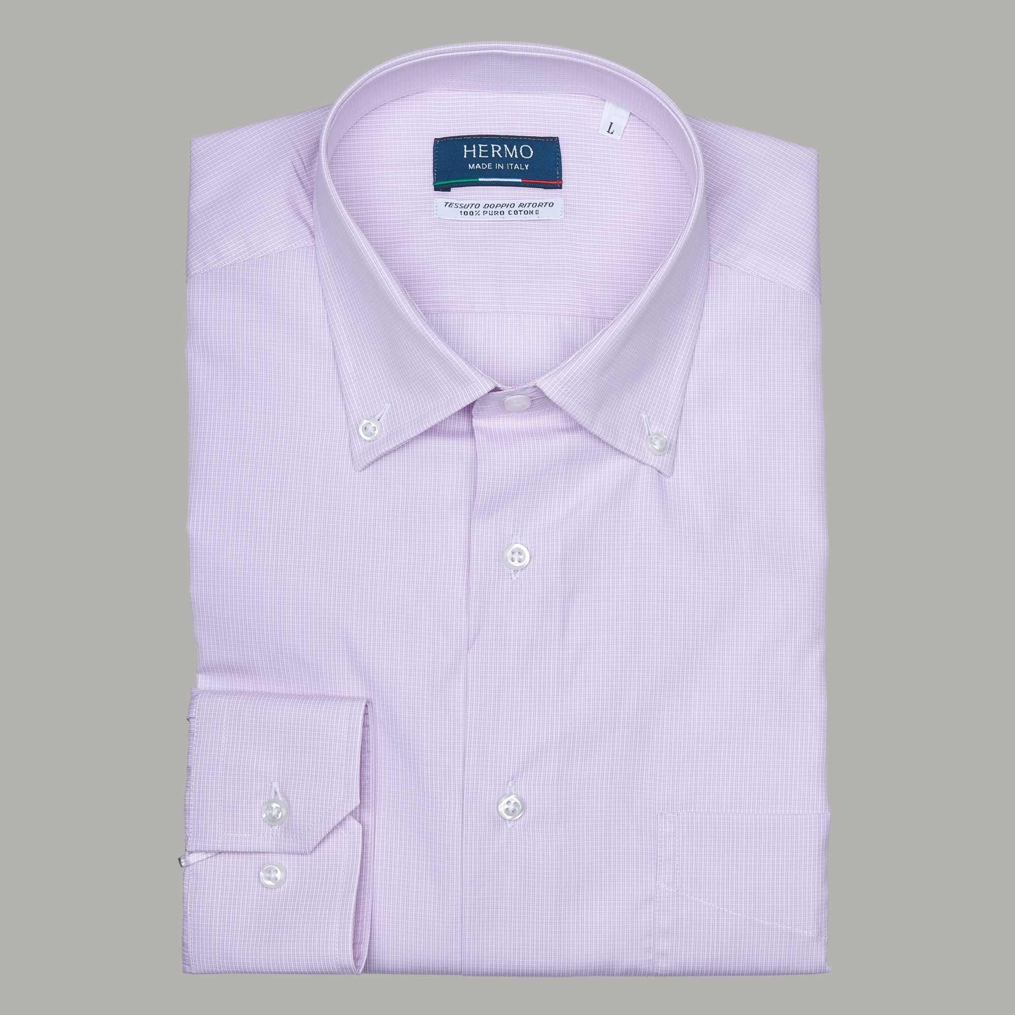 Camicia da uomo rosa 100% puro cotone doppio ritorto
