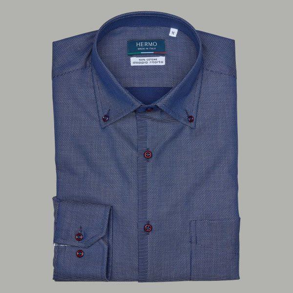 Camicia blu con bottoni rossi 100% cotone doppio ritorto