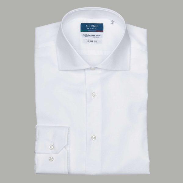 Camicia bianca da uomo classica puro cotone non stiro