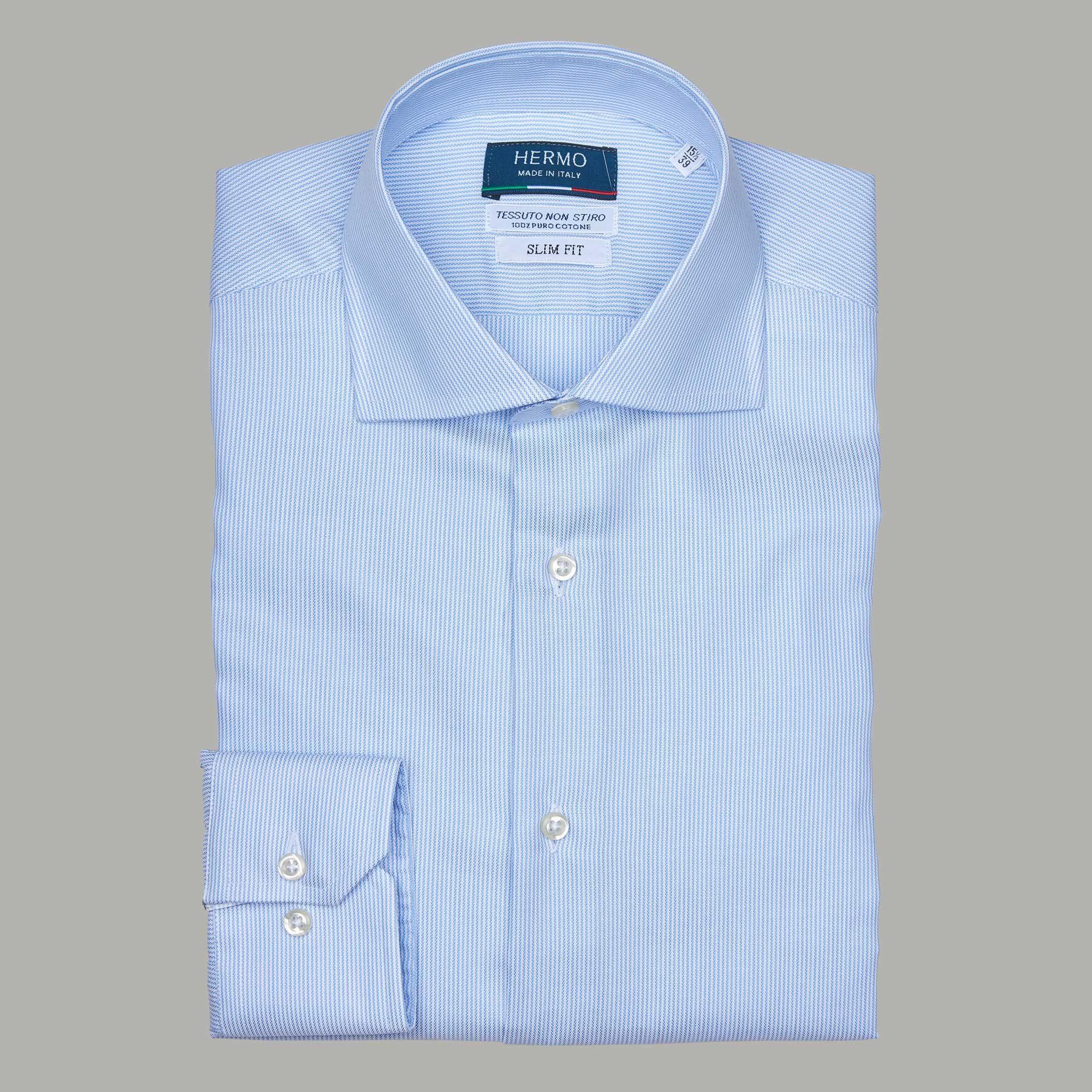 Camicia azzurra 100% cotone non stiro