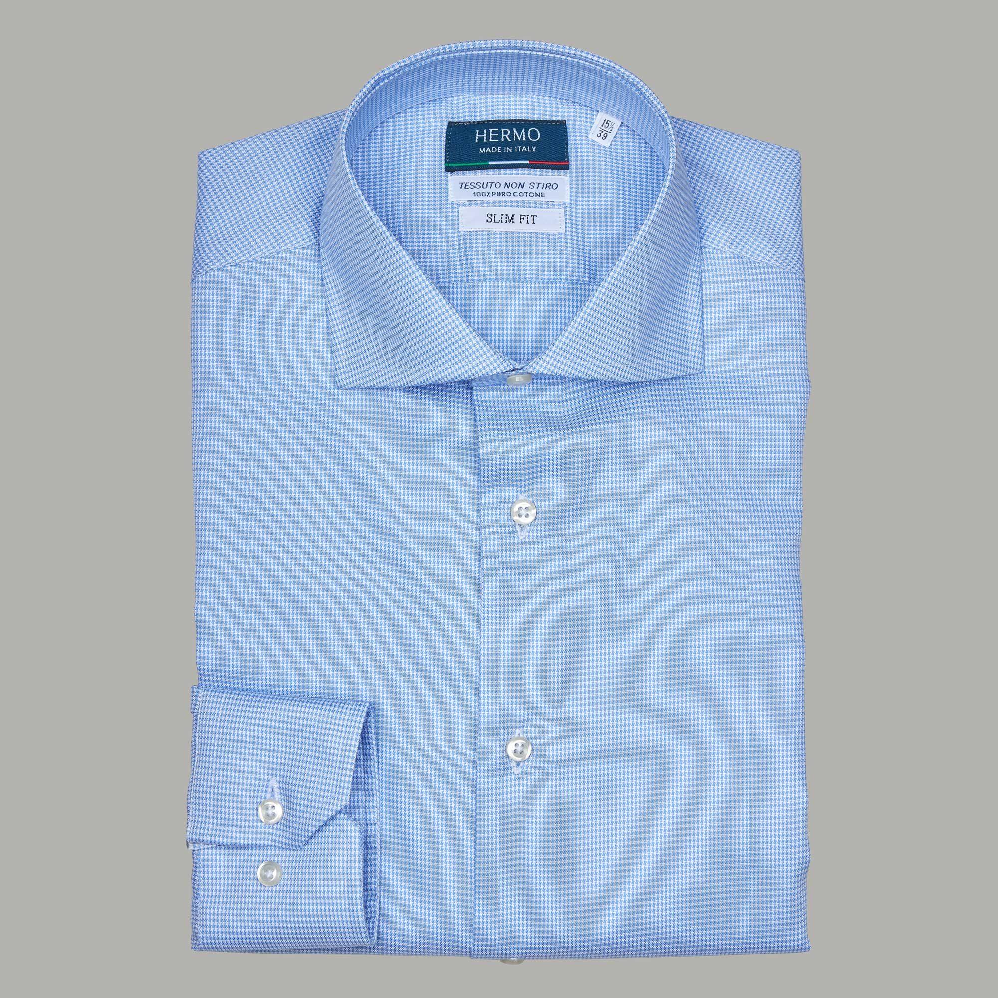 Camicia slim azzurra 100% cotone non stiro