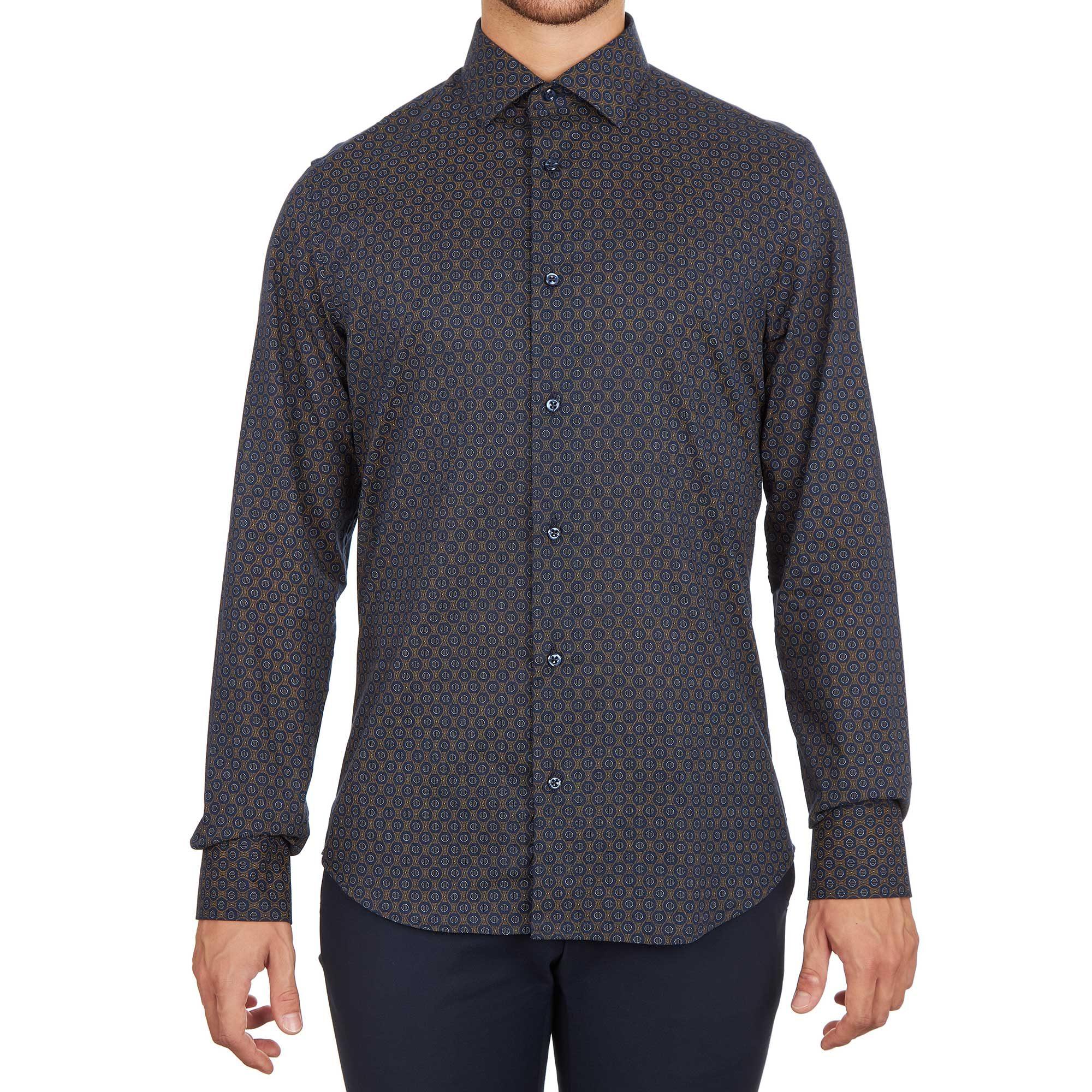 Camicia elegante fantasia da uomo made in italy