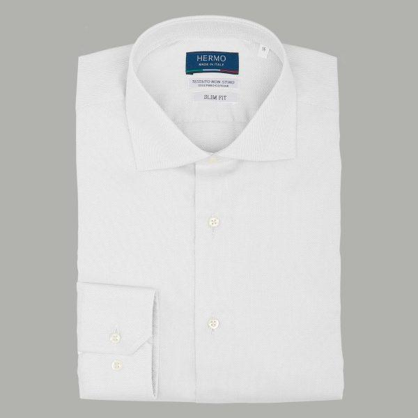 Camicia bianca da uomo classica slim puro cotone non stiro